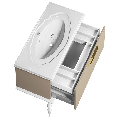 Тумба под раковину комплект Edelform Декора 100, раковина Гармония 1000, жемчужно бежевый