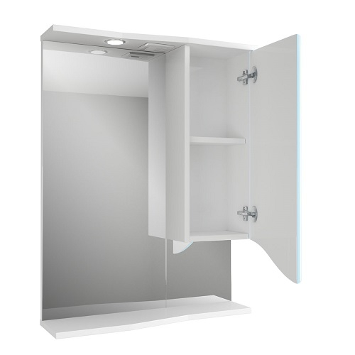 Зеркало Merkana Роман 60, шкафчик справа, свет, розетка, белый/голубой