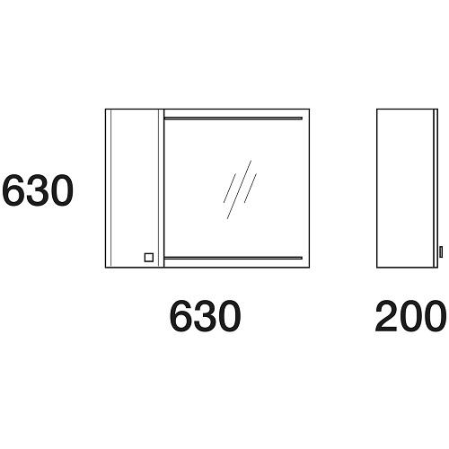 Шкаф зеркальный Edelform Нота 65, 630х630 мм, белый