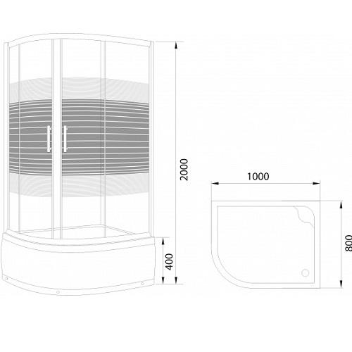Душевое ограждение L013 L LANG, с поддоном 800х1000х2000 мм