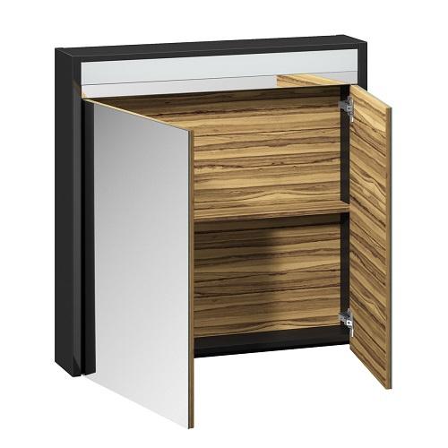 Шкаф зеркальный Edelform Карино 80 черный с эбони