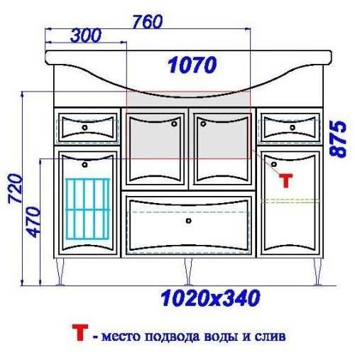 Тумба-умывальник Аквелла Ba-L.01.10.K Барселона люкс -105 на ножках, с корзиной