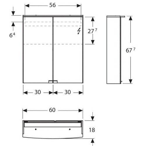 Зеркальный шкаф Keramag Option 801360 60 см