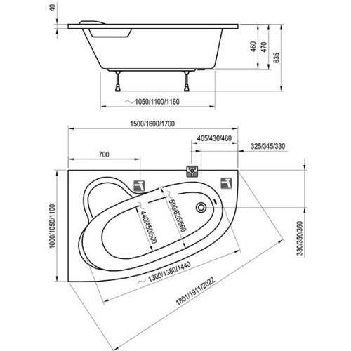 Ванна акрил Ravak Asymmetric 150x100 левая