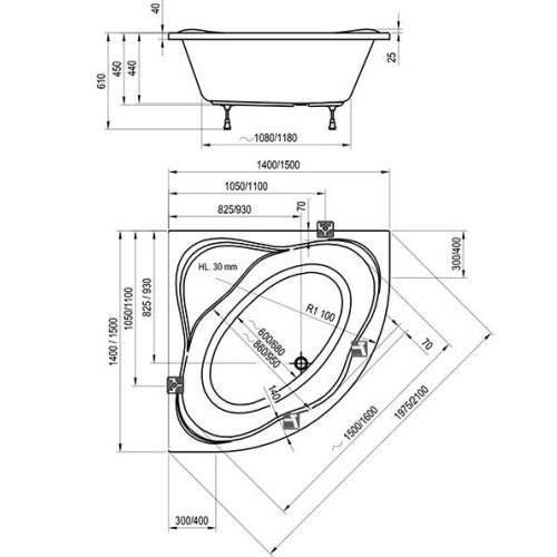 Ванна угловая Ravak NewDay 150х150