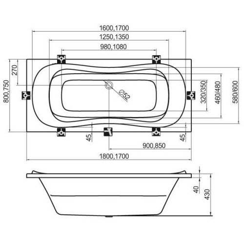 Ванна акриловая Ravak Campanula II 170х75