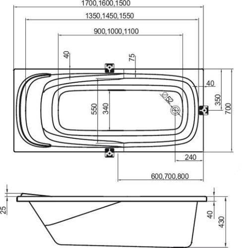 Ванна акриловая Ravak Vanda II 160х70