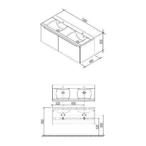 Тумба под умывальник Ravak SD-1300 Classic береза/белая