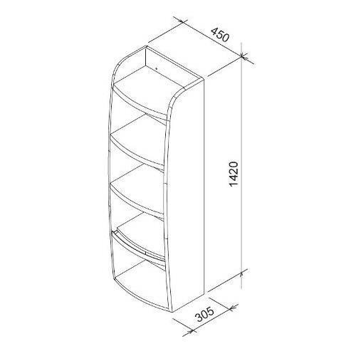 Боковой шкаф Ravak SB Evolution 450х305х1420 открытый