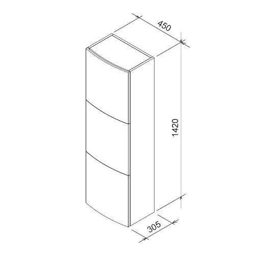 Боковой шкаф Ravak SB Evolution 450х305х1420 закрытый
