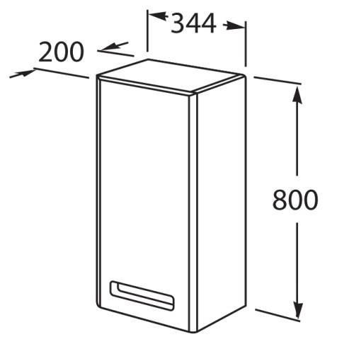 Шкаф навесной Roca Gap 34 см, белый глянец, левый ZRU9302882
