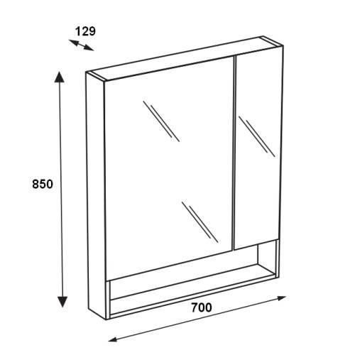 Зеркальный шкаф Roca Gap 70 см, белый глянец ZRU9302886