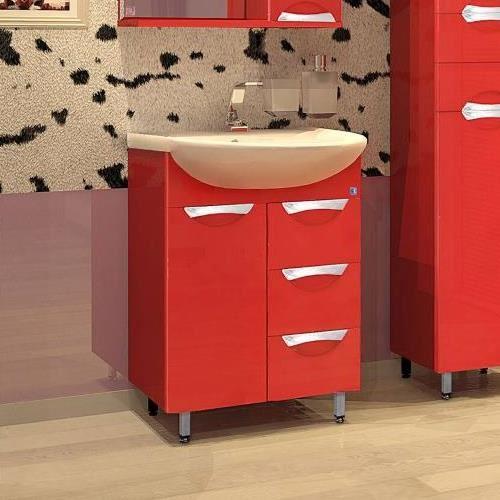 Тумба Style Line Жасмин 65, красный, с раковиной Эрика 65