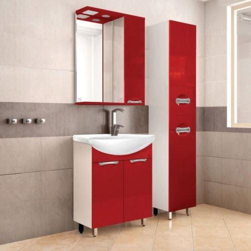 Тумба Style Line Жасмин 55, красный, с раковиной Уют 55