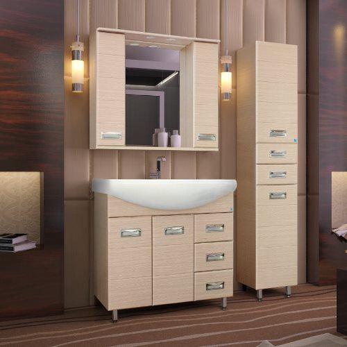 Зеркало-шкаф Style Line Ирис 900/С венге светлый, с подсветкой