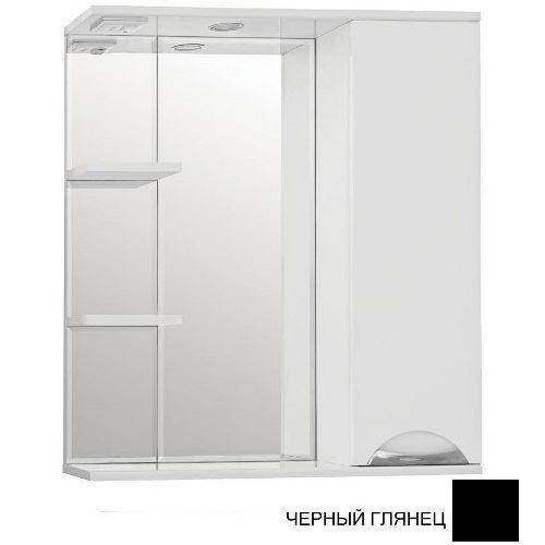 Зеркало-шкаф Style Line Жасмин 750/С черный глянец, с подсветкой