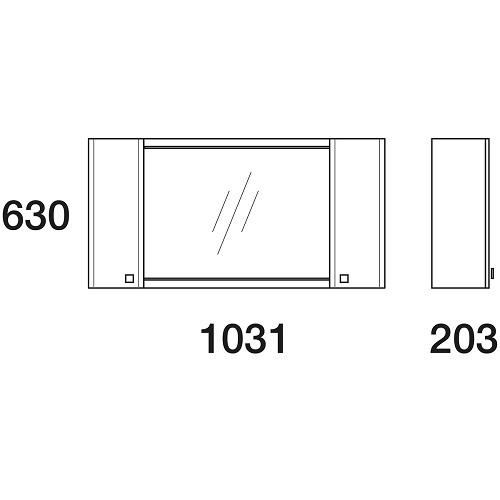 Шкаф зеркальный Edelform Нота 105, 1031х630 мм, серый