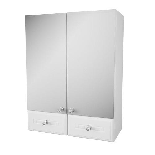 Зеркальный шкаф Merkana Валенсия 50, с двумя ящиками, двойной, белый