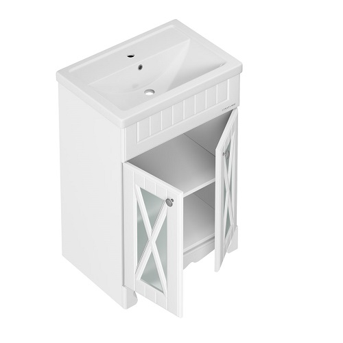 Тумба под раковину, комплект Edelform Дижон 60 на пол, раковина Фостер 60, белый