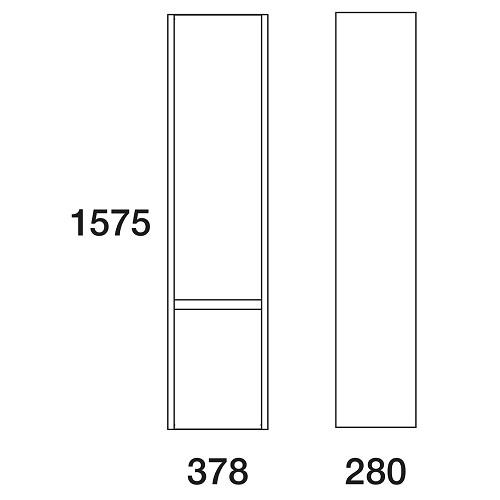Пенал Edelform Карино 38 подвесной, черный с эбони левый/правый