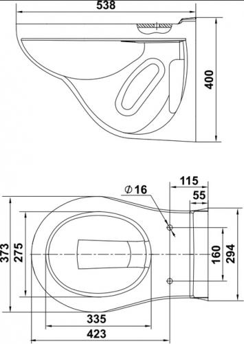 Унитаз Керамин ГРАНД R консольный с жестким сиденьем с микролифтом