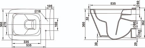 Унитаз Керамин Милан консольный с жестким сиденьем и микролифтом