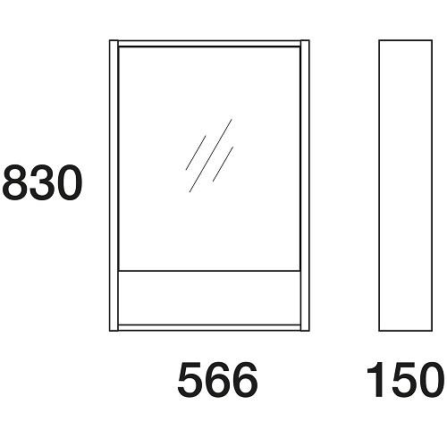 Шкаф зеркальный Edelform Уника 60 белый с дуб гальяно