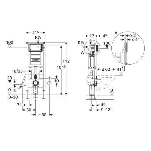 Инсталляция для подвесного унитаза Geberit Duofix UP320 узкая рама 41.5 см 111.361.00.5