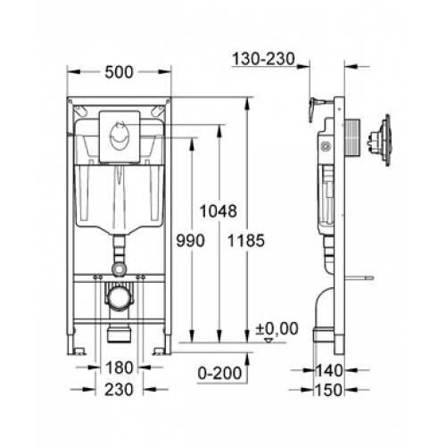 Комплект инсталляции Grohe Rapid-SL 38721 + Подвесной унитаз Аттика Luxe, сидение микролифт