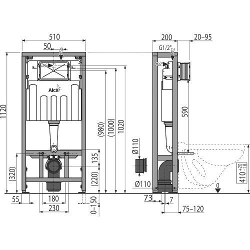 Инсталляция для унитаза ALCAPLAST AM116/1120 Solomodul для сухой установки в пространство