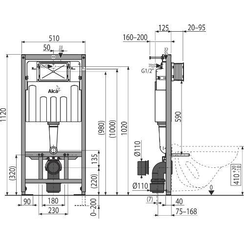Инсталляция для унитаза ALCAPLAST AM101/1120V Sadroмodul