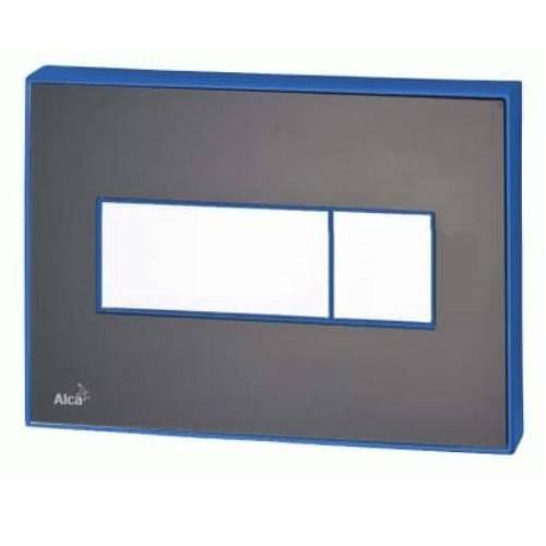 Кнопка управления ALCAPLAST M1475-AEZ111 с цветн. пластиной черный-матовый - светящиеся голубой