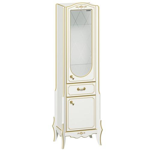 Пенал с ящиком, одинарный Edelform Луиза, белый матовый с золотом