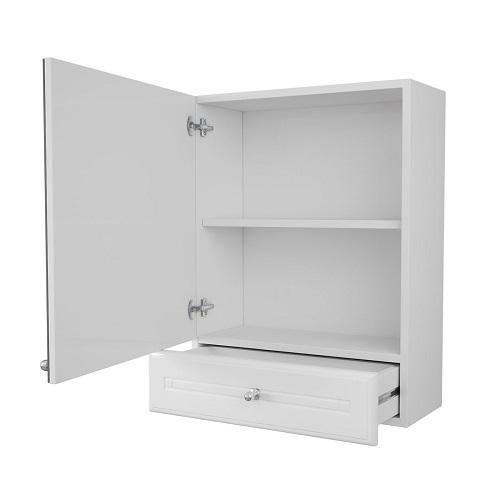 Зеркальный шкаф Merkana Валенсия 50, с одним ящиком, одинарный, белый