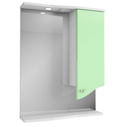Зеркало Merkana Роман 60, шкафчик справа, свет, розетка, белый/салатовый