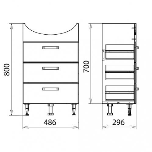 Тумба-комплект Merkana Квинта 50, с тремя ящиками, на пол, умывальник Уют 50, белый