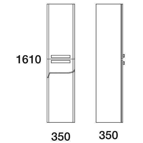 Шкаф-пенал Edelform Нота 38 подвесной, корзина, серый