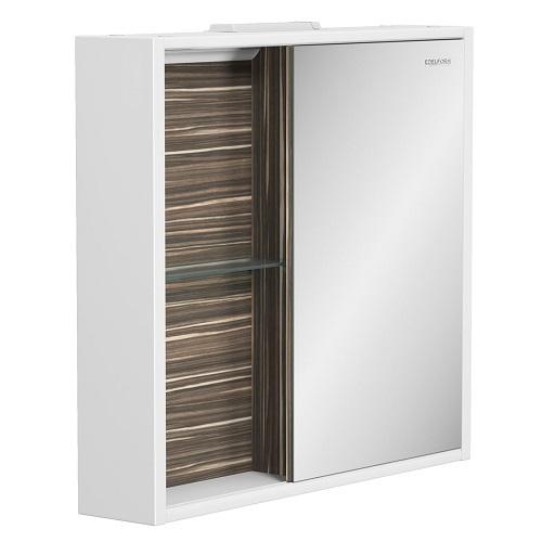 Шкаф зеркальный Edelform Белль 80 белый с макассар