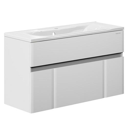 Тумба под раковину, комплект Edelform Амата 120 подвесная, раковина Прима 1200, белый