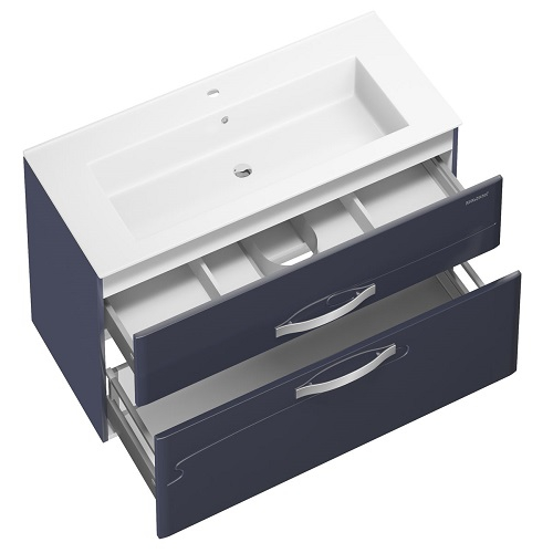 Тумба под раковину, комплект Edelform Нота 105 подвесная, раковина Оскар 105, серый