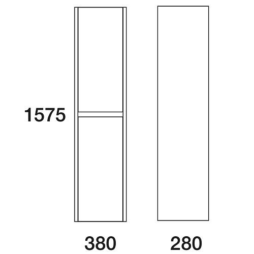 Пенал Edelform Уника 38 подвесной, белый с дуб гальяно