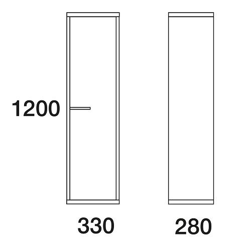 Пенал Edelform Марино 33 подвесной, белый с выбеленным деревом