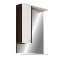 Зеркало Merkana Ольга 55, шкафчик (слева/справа), свет, розетка, белый/венге