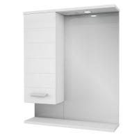 Зеркало Merkana Таис 60, шкафчик (слева/справа), свет, разетка,  белый